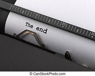 """""""the, end"""", nachricht, getippt, per, weinlese, typewriter."""