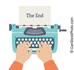 The end of story flat illustration - Flat design style ...