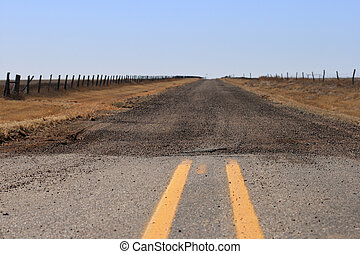 gravel road - the end of the paved road where it turns into...