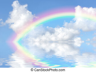 The End of the Rainbow - Fantasy abstract of a blue sky,...