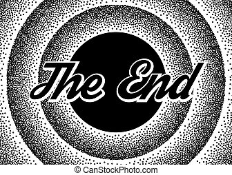 The End screensaver in retro stypple style.