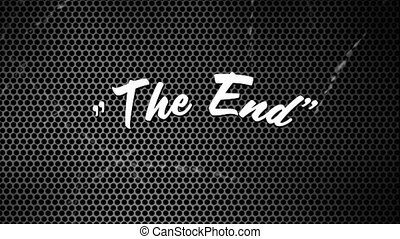 The End sign in patterned background and noise