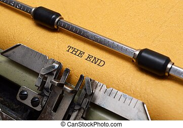 The end text on typewriter