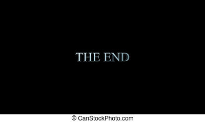 The end title - 3d blue metallic animation zooms in toward...