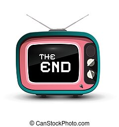 The End Title on Retro TV Screen Isolazed on White Background