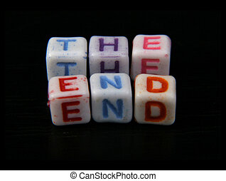the end title - \\\'the end\\\' title created of small white...