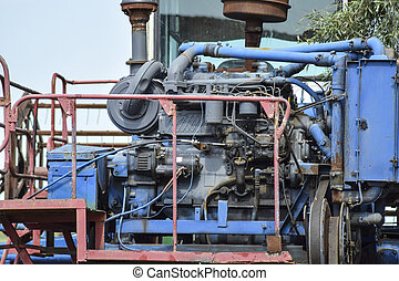 The engine of a combine harvester.