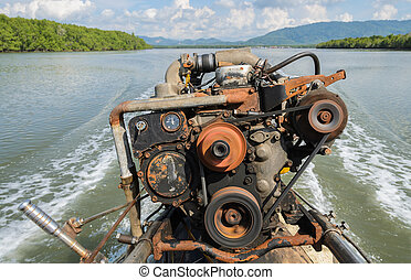 The engine of a long-tail boat