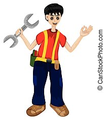 the engineer cartoon shape on white background vector design