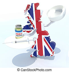 England map with covid vaccine and syringe on a dish