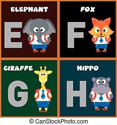 The English alphabet letter E,F,G,H