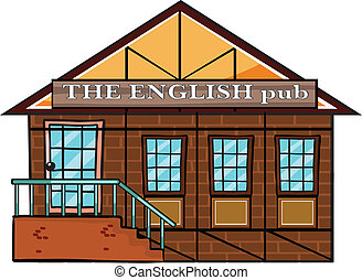 The english pub - illustration of the english pub on a white...