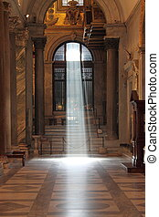 The enlightenment of faith - Mystic light in the nave of a ...
