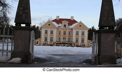 The entrance gate of the big old manor house in Estonia...