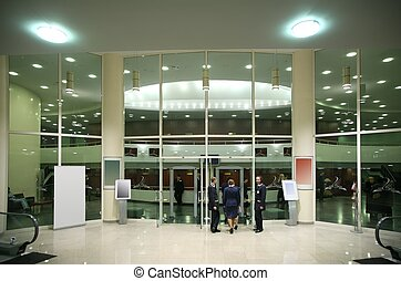 the entrance in the foyer of the concert hall