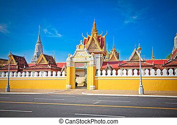 The entrance of Royal palace , Phnom Penh, Cambodia.