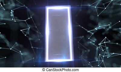 The entrance to cyberspace. The entrance to modern technology. Mysterious door with many openings.