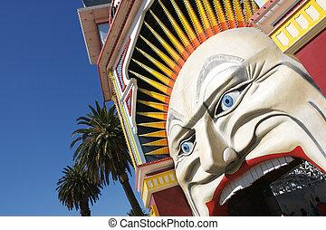 Melbournes Luna Park - The entrance to Melbournes Luna Park ...