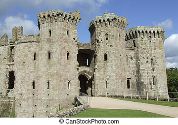 The entrance to Raglan Castle in Wales