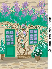 The entrance to the house with a flowering tree and plants near the window. Vector flat concept illustration.