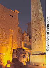The entrance to the Luxor Temple at night (Egypt) - The...