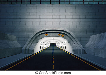 The entrance to the tunnel at night