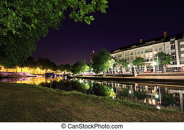 The Erdre by night - Nantes, France - The Erdre river by ...