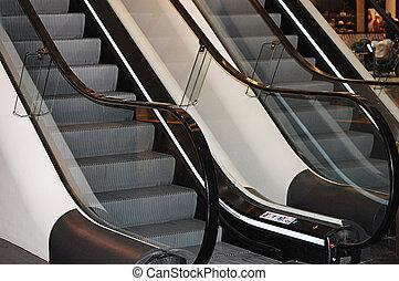 The escalator in shopping center