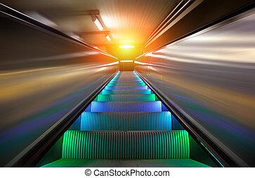 the escalator of subway station