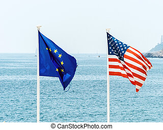 the eu and the usa flag - flags of the european union and...