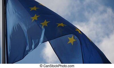 The EU banner, the sign of democracy and freedom, flying on...