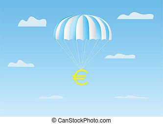 The euro flies on a parachute