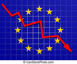 The European Union Flag and arrow graph going down