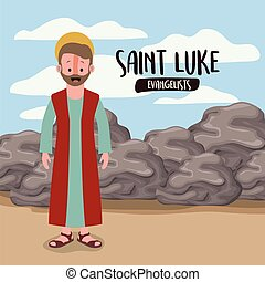 the evangelist saint luke in scene in desert next to the...