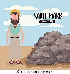 the evangelist saint mark in scene in desert next to the...