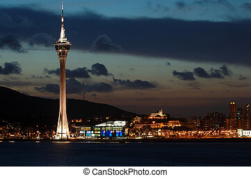 The evening of Macau Tower Convention and Entertainment Center