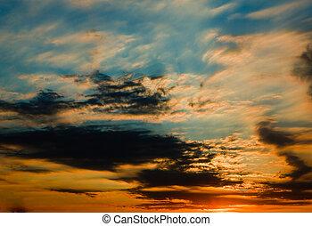 The evening sky.