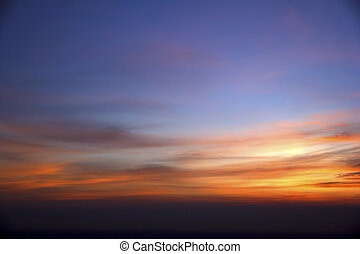 View of a spectacular sky at sunset time
