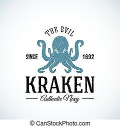 The Evil Kraken Authentic Navy Abstract Vector Logo Template...
