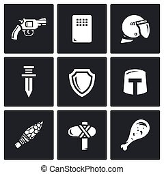 The evolution of weapons icons set.