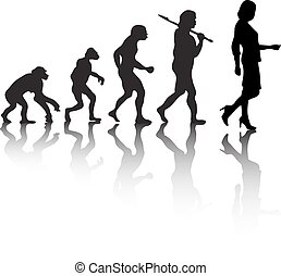 The evolution, silhouette people. Darwin s theory. Vector...