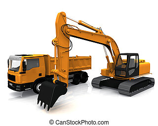 the excavator and truck