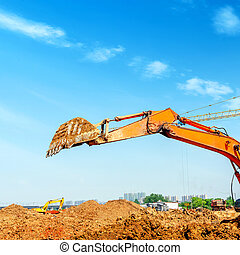 The excavator is dredging
