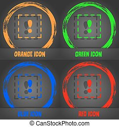 The exclamation point in a square icon. Fashionable modern style. In the orange, green, blue, red design. Vector