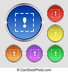 The exclamation point in a square icon sign. Round symbol on bright colourful buttons. Vector