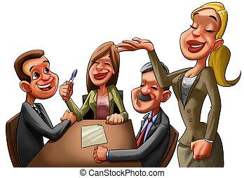 the executive reunion - some happy caucasian executives in a...