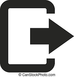 The exit bag icon. Logout and output, outlet, out symbol. Flat