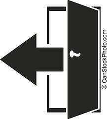 The exit icon. Logout and output, outlet, out symbol. Flat