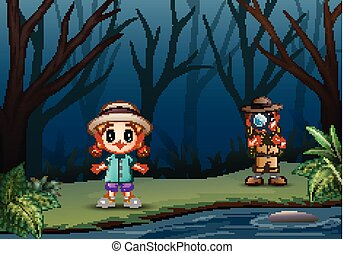 The explorer boy with a little girl at dry forest