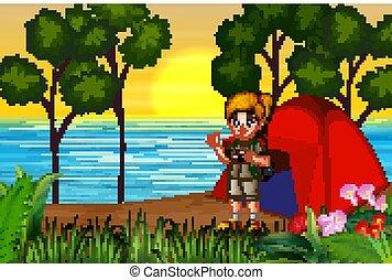 The explorer girl on campsite at sunset landscape